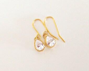 Bridal Zirconia Earrings/ Gold And Zirconia Earrings/ Zirconia Teardrop Earrings/ Pear Zirconia Earrings - Teardrops