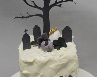 Halloween cake toppers - 1 qty spooky tree 3 qty tombstones 1 qty paper fence 2 qty pumpkins and 2 qty single hydrangeas - birthday party