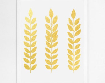 Real Gold Foil Leaf Print, Minimal Nature Art, Modern Gold Metallic Artwork, Minimal Poster, Scandinavian Nordic Prints, Leaves Illustration