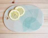 Serving board Oval ceramic board with hole Stoneware Aquamarine matt glaze - Ready to ship