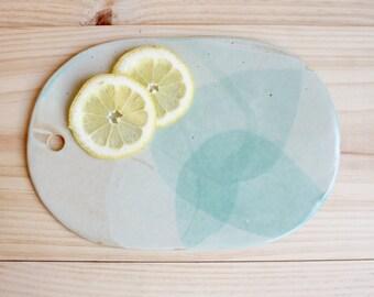 Serving board Oval ceramic board with hole Stoneware Aquamarine matt glaze - Ready to ship