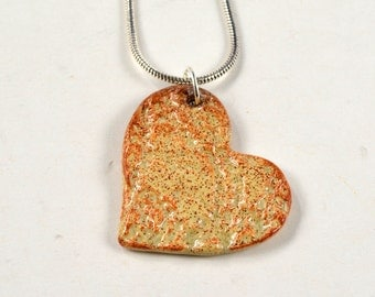 """SALE! Ceramic Heart Pendant Necklace with Silver Plated 18"""" Chain Pottery Clay Jewelry Handmade"""