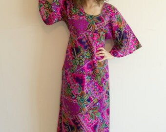 Vintage Bright Psychedelic Angel Wing Boho Hippie Maxi Dress