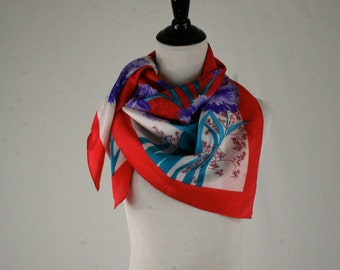 1950s Bold Floral Large Silk Square Scarf