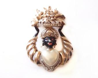 Rarest Reja Brooch Africana Series, Blackamoor Ladies Dress Pin, Rhinestone Pearl Pin, 1940s Quality Costume Jewelry, Vintage Jewelry