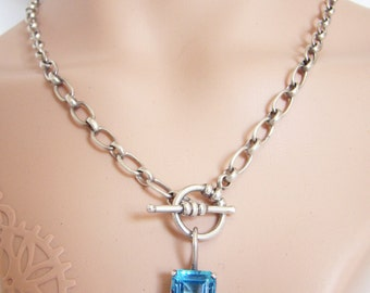 Vintage Sterling Silver, Emerald Cut Swiss Blue Topaz (12mm x 10mm), Elongated Link Chain Necklace, Front Toggle Clasp, Artisan Necklace