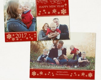 Christmas Card Template - for Photographers and Personal Use - 5x7 Holidays Photo Card Template -041 Photoshop Template