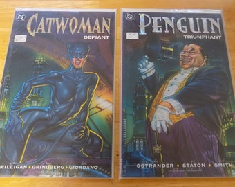 Set of 2  DC Comics Catwoman Defiant and Penguin Triumphant