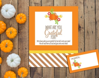 Thanksgiving Game - What Are You Grateful For - Thanksgiving Printables - Friendsgiving Printables - Pumpkin - INSTANT DOWNLOAD - Printable
