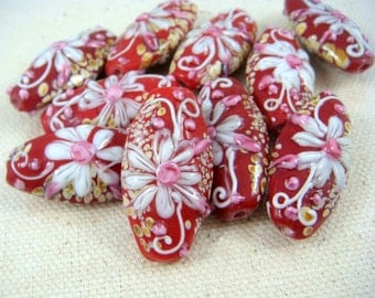 Lampwork Beads - Red with White and Pink Flower - Oval Lamp work Beads - 30mmx17mm - Qty. 3