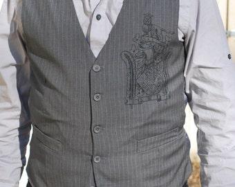 Grey Pinstripe Waistcoat w/ Crest