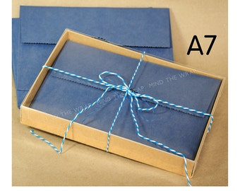 12 sets -  A7 Kraft Box with Clear Lid - 5 3/8 x 1 x 7 1/2 inches - Packaging for Greeting Card Sets and more