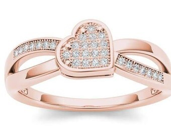 10Kt Rose Gold Diamond Heart Ring