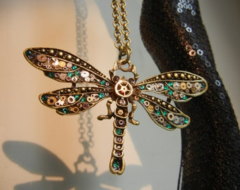 Steampunk necklace, Steampunk Dragonfly necklace, Steampunk Pendant, Emerald Green.