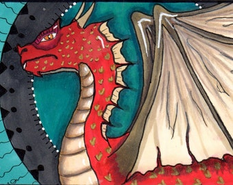 "ACEO - Art Card Original - Dragon ""Yeceku"", hand-drawn"