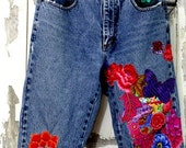 Hold for Jeannine Hippie Jeans,Boho Chic,Upcycled Clothing,Wearable Art,Artsy Jeans,Frayed Hippie Jeans