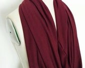 Infinity Scarf Jersey Knit modal cashmere Circle Loop Garnet red burgundy Solid Chunky