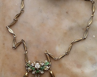 Vintage Triptych Gold Tone Spike Enamel Flower Rhinestone Faux Pearl Antique Inspired Ornate Chain Necklace Handmade One Of A Kind