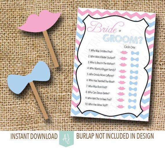Printable Bridal Shower Game-- How Well Do You Know The