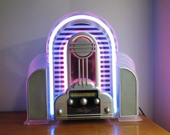Vintage Cicena Marilyn Neon Radio, Art Deco Design AM/FM stereo Radio, Flashing Neon Radio