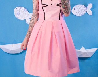SALES Pink Cotton Dress / Party Dress / Prom Dress / Pleated Dress  / Midi Dress / Small / Medium / Large