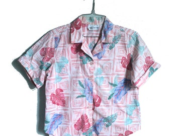 Pink Hawaiian Shirt | Vintage Hawaii Shirt | 80s Pink Shirt