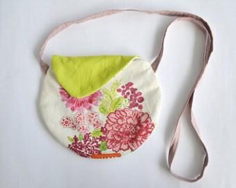 Floral shoulder bag- crossbody purse- small purse - spring accessories- small cross body cotton bag