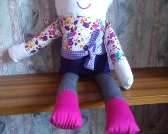 Handmade 'Peg'  Fabric Girl Cotton Doll Plushie by Jade Smith Toys