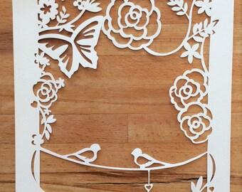 Wedding / Annerversary Papercut Template SVG Cutting File