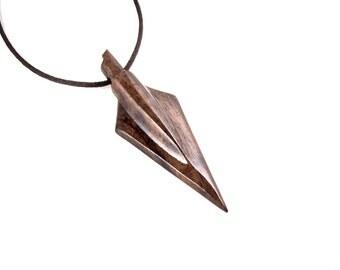 Arrowhead Necklace, Arrowhead Pendant, Mens Arrowhead Necklace, Mens Tribal Necklace, Arrowhead Jewelry, Mens Wood Necklace, Arrow Jewelry