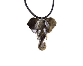 Elephant Necklace, Elephant Pendant, Elephant Jewelry, Wooden Elephant Pendant, Ganesh Necklace, Ganesha Hand Carved Pendant, Boho Jewelry