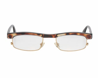 Traction Production cool rectangular - squared eyeglasses frames in reflective tortoise cello, NOS 1980s