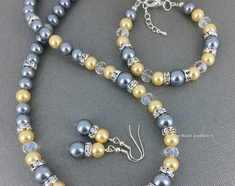 Light Yellow and Grey Necklace, Pearl Jewelry, Bridesmaids Gifts, Grey and Yellow Wedding, Yellow and Gray Bracelet, Summer Wedding, Gifts