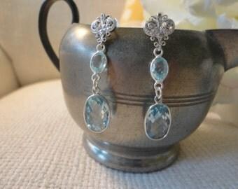 blue topaz earrings. silver post earrings. long silver earrings. gemstone silver earrings. blue earrings dangle. blue earrings for women