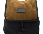 Earth Globe Split Leather Backpack, Canvas and Split Leather Backpack, Mediterranean Inspired, Women's Backpack