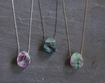 Fluorite // Fluorite  Necklace  // Fluorite  Crystal // Fluorite  Pendant // Custom Length Chain // Flourite