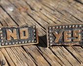 Vintage Swank Yes No Cuff Links, Swank Cuff Links, Shirt Accessory, Political Cuff Links, Ballot Cuff Links