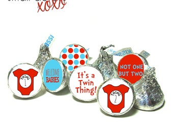 THING 1 & THING 2 Dr. Seuss theme stickers ~ It's Twins - for Hershey's Kisses® Chocolate, Life Saver® Mints, Rolo®- Baby Shower