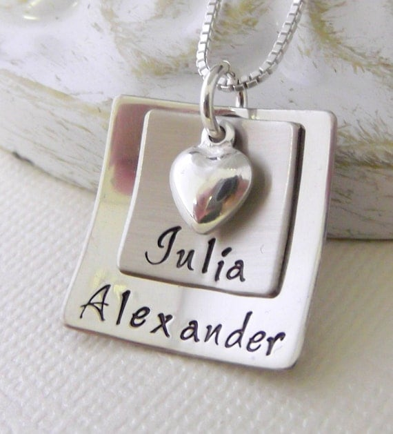 Personalized Mom Necklace- Mommy Jewelry- Square Mommy Necklace- Stacked Mom Necklace- Hand Stamped Mother Necklace- Square Mom Necklace-