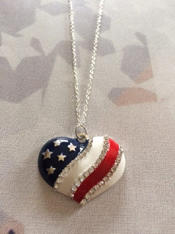 and stripes patriotic jewelry american flag necklace