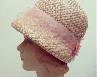 1960s straw pink cloche hat | vintage straw hat with bow | The Jessica Cloche