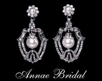 """Bridal earrings, Art Deco earrings, rhinestone and white pearl, bridal jewelry, wedding, """"Versailles"""" earrings"""