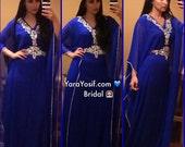Yara Yosif blue and silver belted kaftan dress