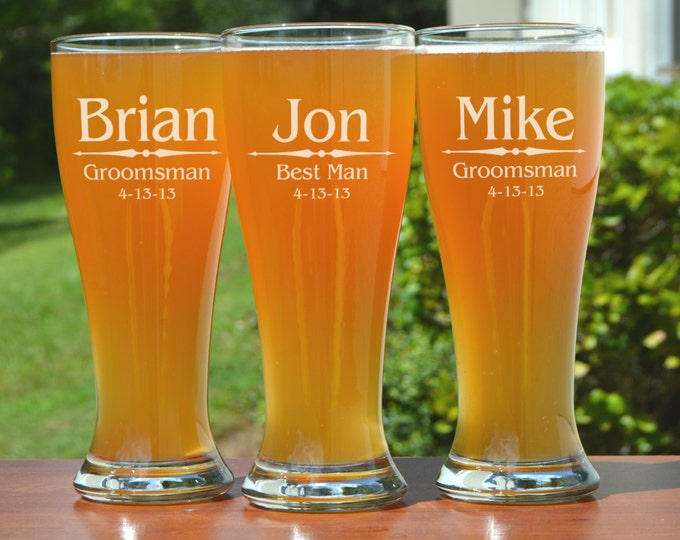 Featured listing image: Groomsmen Gift, 6 Personalized Beer Glasses, Custom Engraved Pilsner Glass, Wedding Party Gifts, Gifts for Groomsmen, Urban Farmhouse Tampa