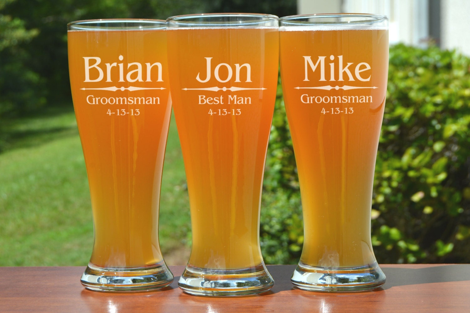 Groomsmen Gift, 6 Personalized Beer Glasses, Custom Engraved ...