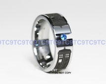 Tungsten Doctor Who Inspired 8MM Sapphire Cz POLICE BOX Design