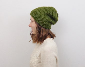 Chunky Knit Slouchy Hat / THE HAAS / Evergreen