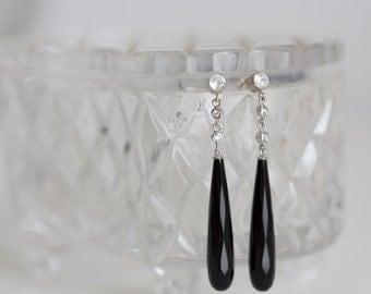 Sterling Silver, Cubic Zirconia & Onyx Long Pierced Earrings