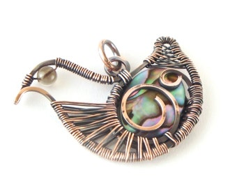 Wire Wrapped Reversible Bird Pendant Abalone Antiqued Copper