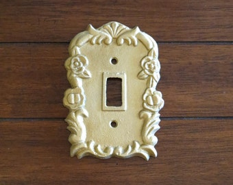 Antique Gold Light Switch Cover / Decorative Light Plate Cover / Cast Iron / Wall Decor / Vintage Style / Antique Gold or Pick Your Color